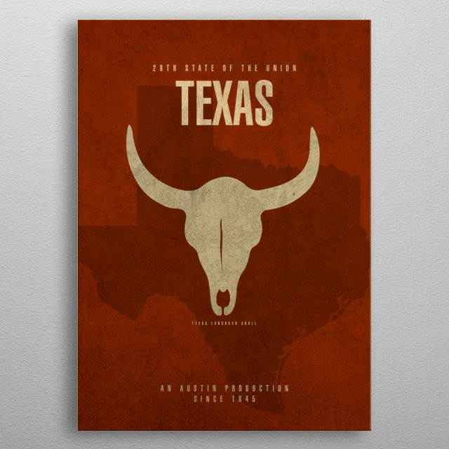 Texas State Facts metal poster