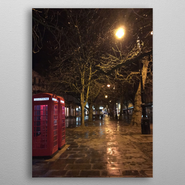 UK Telephone box night scene at one of the Cotswold street metal poster