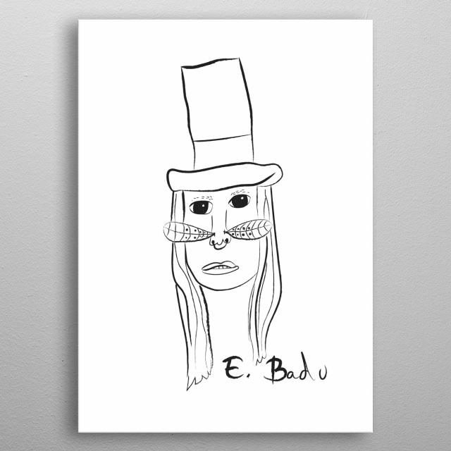 Linear portrait of Erykah Badu metal poster