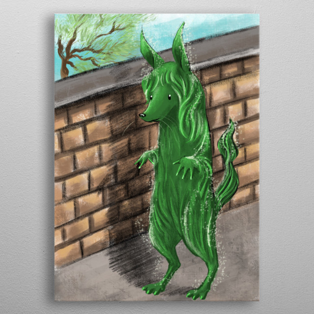 Hes just a green hairy monster, but hes a friendly one metal poster