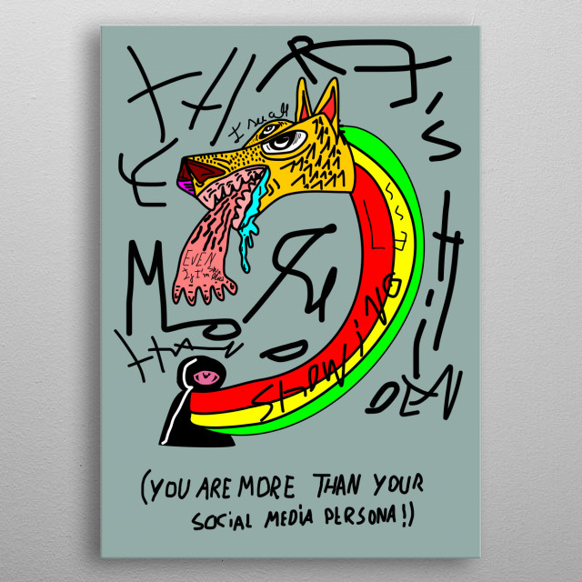 illustrating thoughts  that create motivation to enhance ourselves and myself metal poster