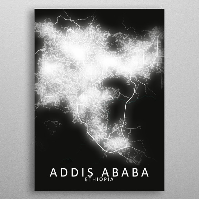 Addis Ababa, Ethiopia,LED Glow City Map metal poster