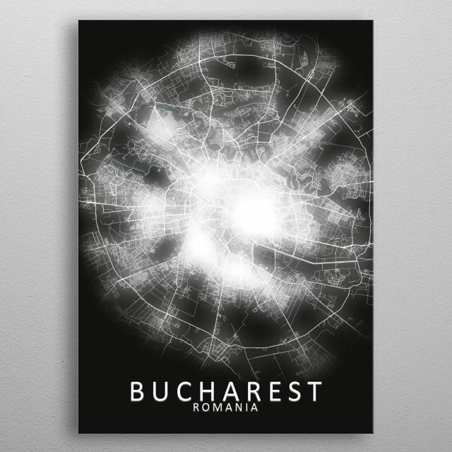 Bucharest, Romania, LED Glow City Map metal poster