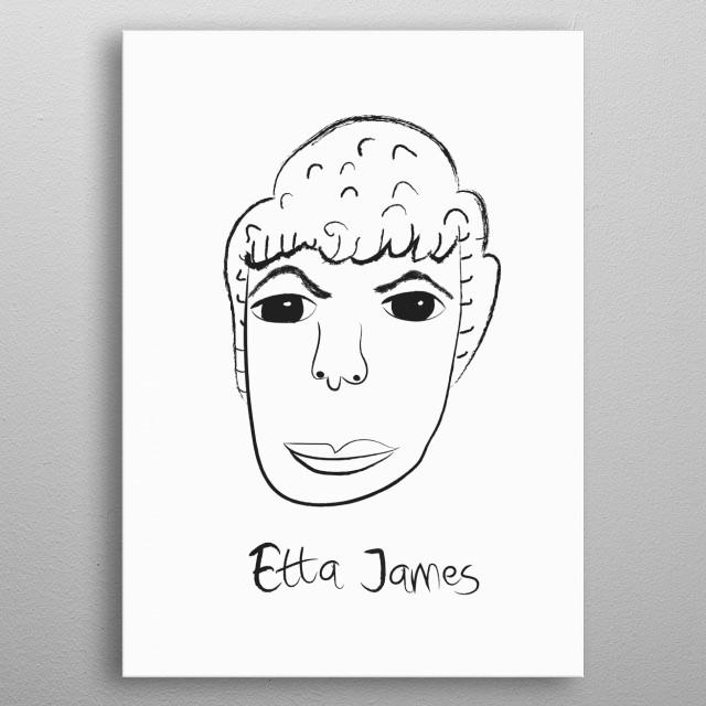 Linear portrait of Etta James metal poster