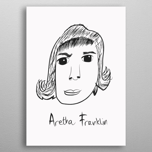 Linear portrait of Aretha Franklin metal poster