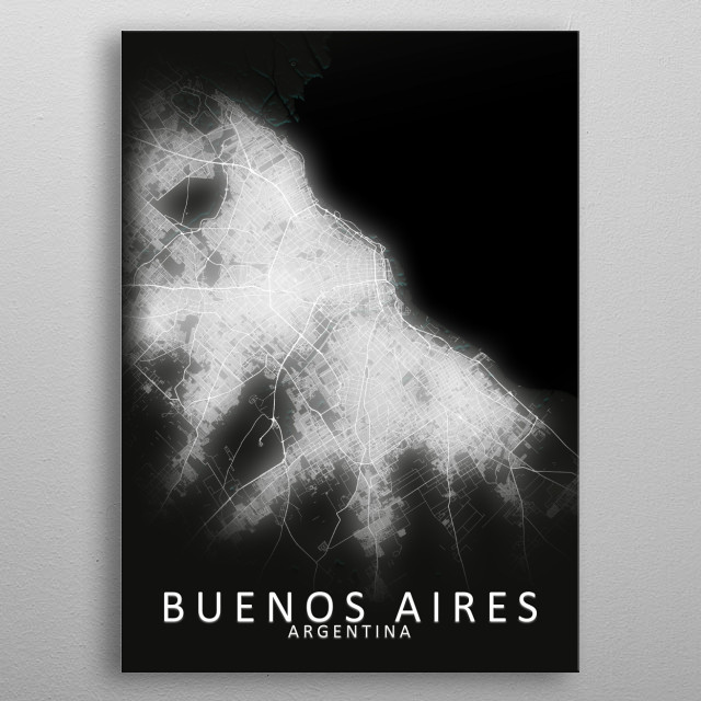 Buenos Aires, Argentina,LED Glow City Map metal poster