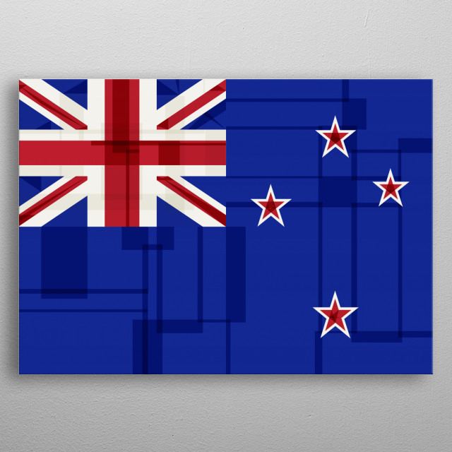 Vector collage version of the New Zealand Flag metal poster