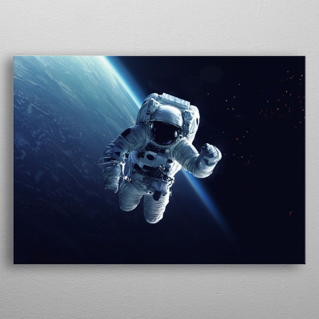 Astronaut at spacewalk. Cosmic art, science fiction wallpaper. Beauty of deep space. Billions of galaxies in the universe. metal poster