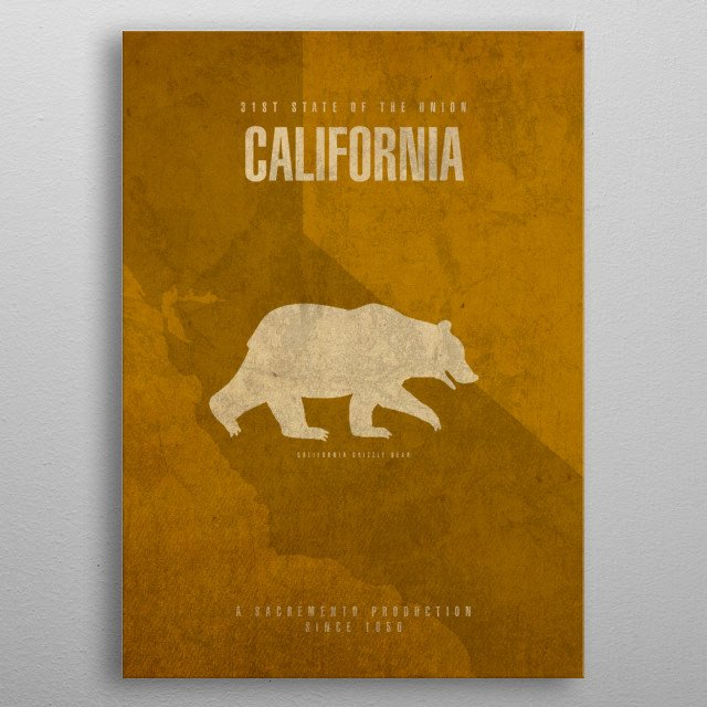 California State Facts metal poster