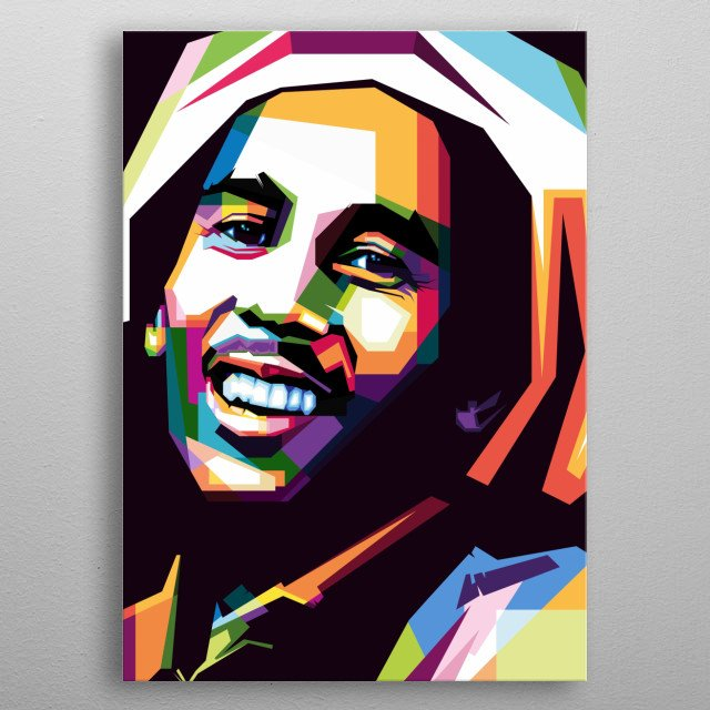 Bob Marley in WPAP style metal poster