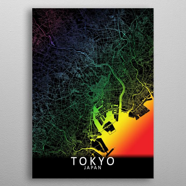 Tokyo, Japan,Rainbow City Map metal poster