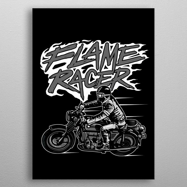 Flame Racer painting. metal poster