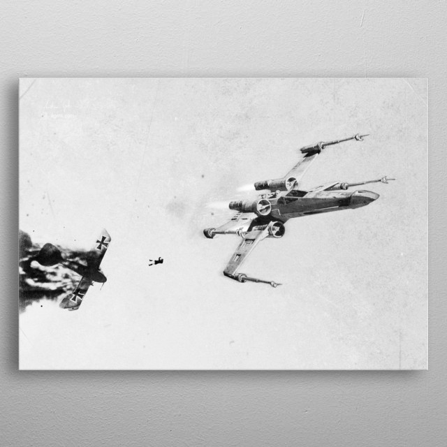 A German pilot ejects from his burning Albatros biplane after being shot down over enemy lines during World War I, 1916. metal poster