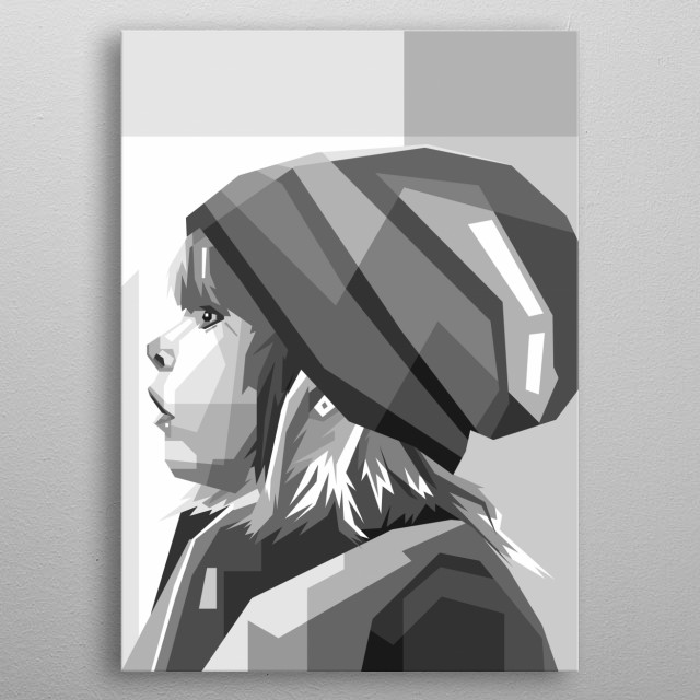 small children are cold wearing jackets in winter, made in pop art style metal poster