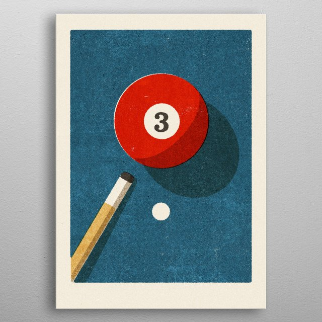 Retro illustration of a billiard table. Part of a series inspired by vintage matchbox label designs. metal poster