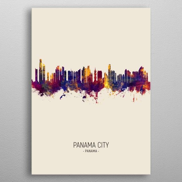 Watercolor art print of the skyline of Panama City, Panama, United Kingdom metal poster