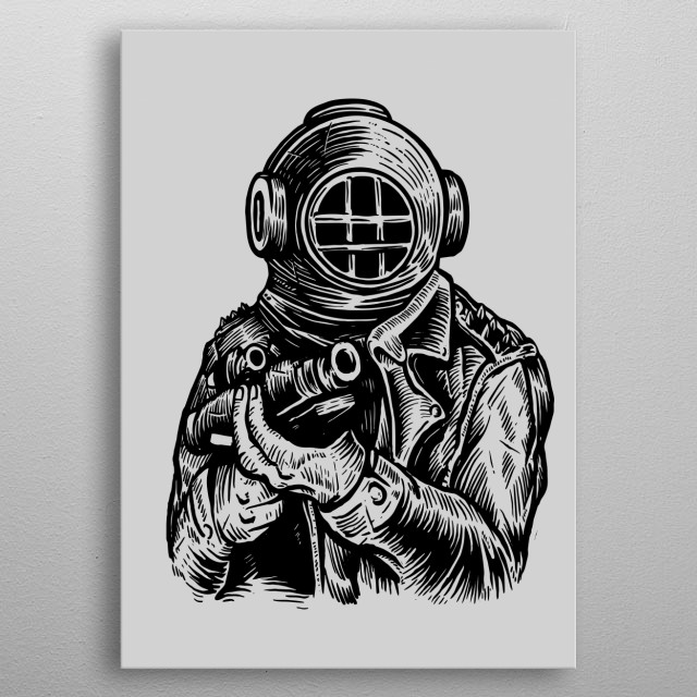 Diver Soldier painting. metal poster