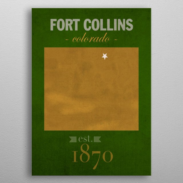 Colorado State University Fort Collins Founded Date metal poster