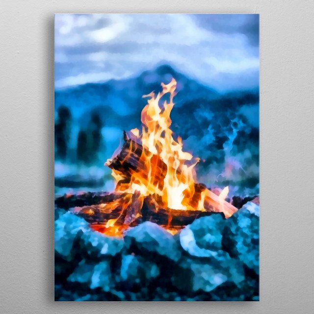 So far away from civilization. Bonfire on the nature metal poster