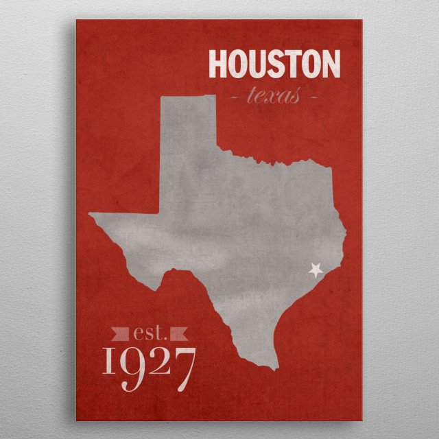 University of Houston TX Founded Date College Town metal poster