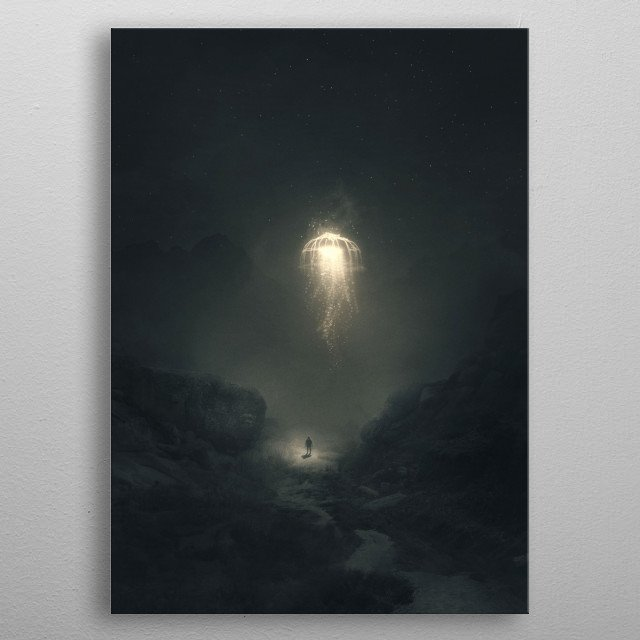 """The most precious light is the one that visits you in your darkest hour!"" – Mehmet Murat Ildan metal poster"