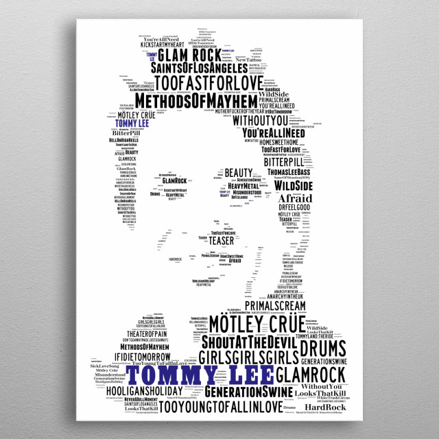 A tribute to Tommy Lee of Iconic US Rock band Motley Crue, his image recreated in the songs of all his and their greatest hits metal poster