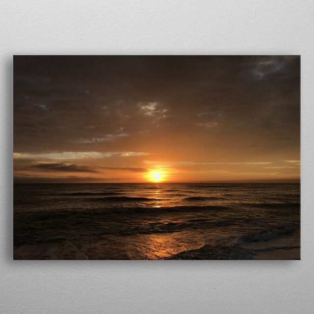 Before our stand up paddle session we had the chance to enjoy this superb gold sunrise. Simply sparkling. metal poster