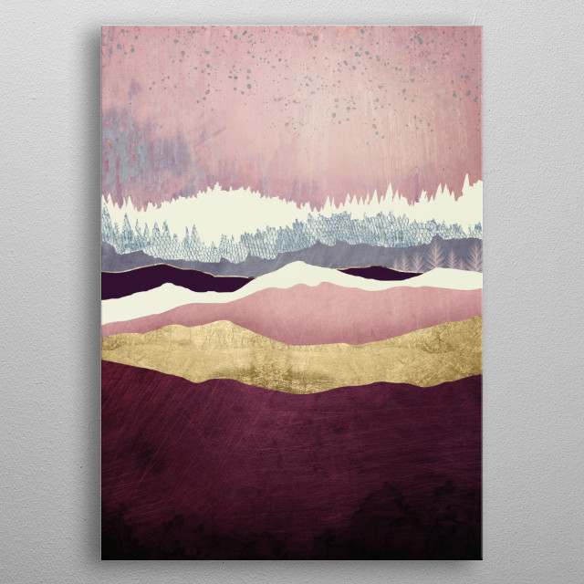 Abstract landscape of raspberry hills, with gold, trees and pink metal poster