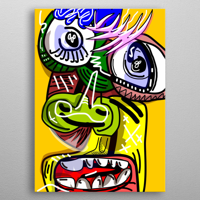Characters expressing different feelings metal poster