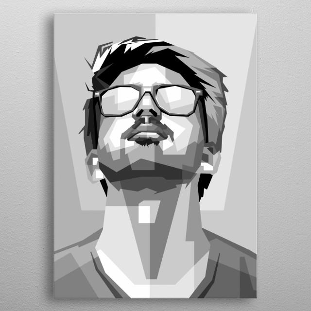 people in black and white edits, design wpap metal poster