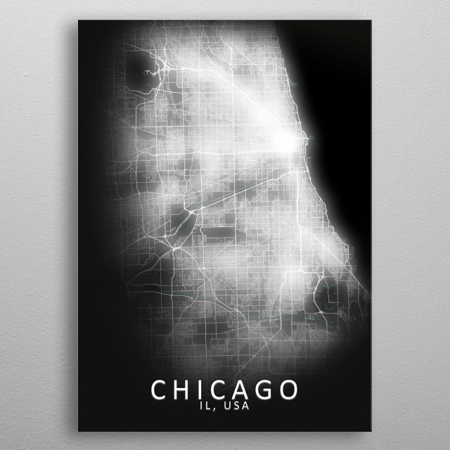 Chicago, IL, USA,LED Glow City Map metal poster