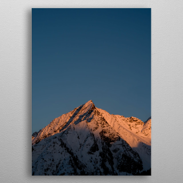 A Peak in the italian alps during sunset. metal poster