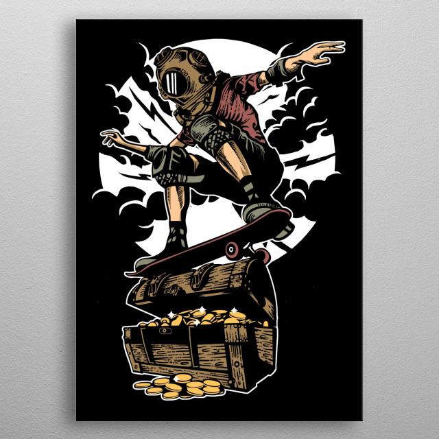 Diver Skater Treasure painting. metal poster