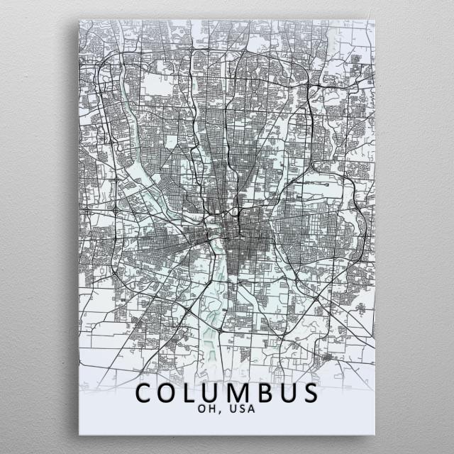 Columbus White City Map Maps Poster Print   metal posters ...