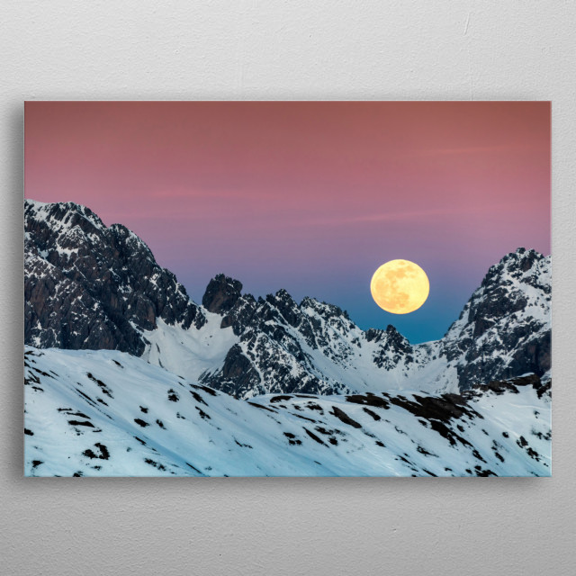 Super full moon rise over the alps.  metal poster