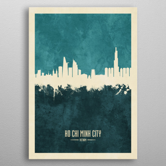 Watercolor art print of the skyline of Ho Chi Minh City, Vietnam metal poster