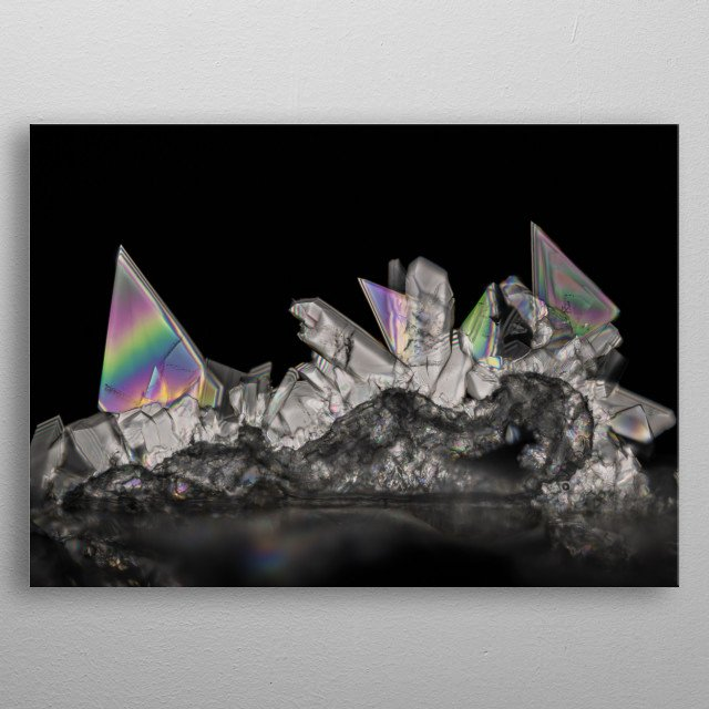 Polarized light photomicrograph of crystals grown from Tartaric Acid metal poster