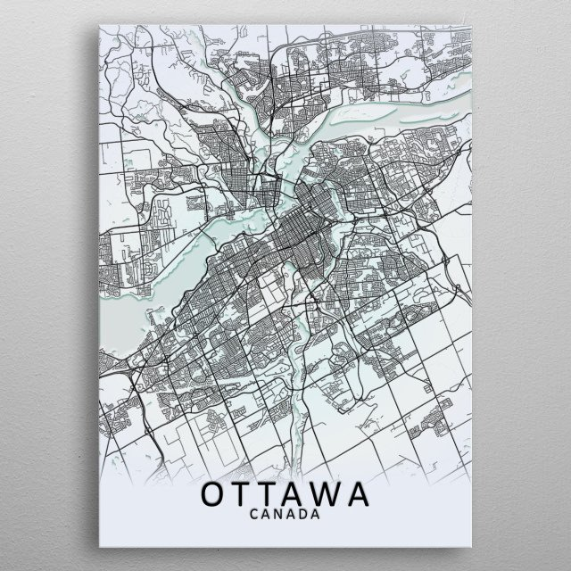 Ottawa, ON, Canada,White City Map  metal poster
