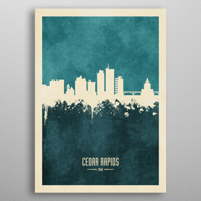 Watercolor art print of the skyline of Cedar Rapids, Iowa, United States metal poster