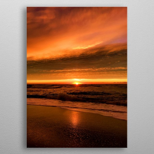 The sunrise is reflected on the beach as the storm approaches, raising more and more waves... metal poster
