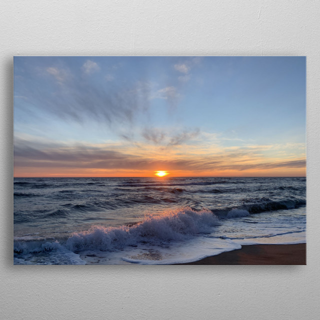 It was cold that morning before a stand up paddle session. The blue sky and the orange sunrise were in perfect harmony with the waves. metal poster