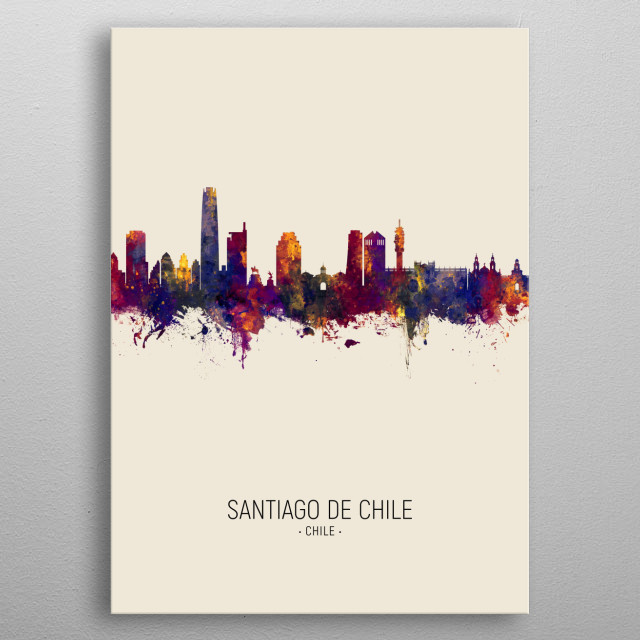 Watercolor art print of the skyline of Santiago de Chile, Chile metal poster