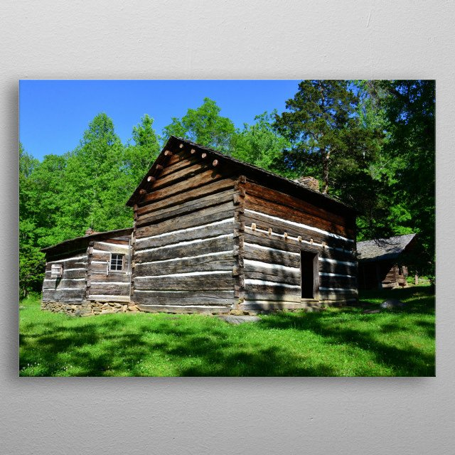 Photography of the historic (1800s) Walker sisters home in the Great Smoky Mountains of Tennessee.  metal poster