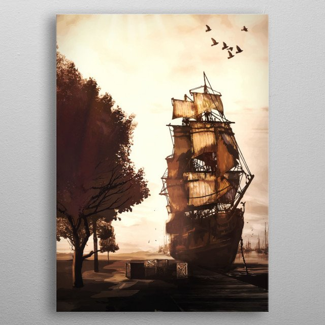Illustration of old-time ship anchored at harbor.  metal poster