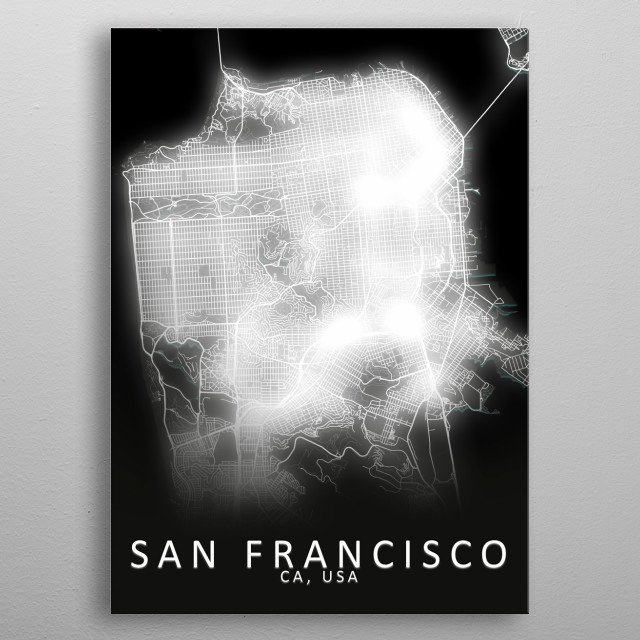 San Francisco, CA, USA,LED Glow City Map metal poster
