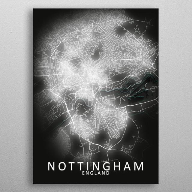 Nottingham, England,LED Glow City Map metal poster