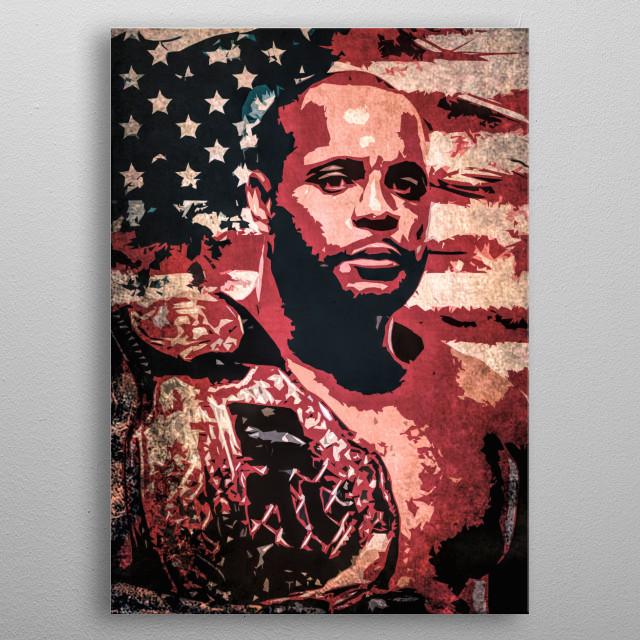 Daniel Cormier cartoon portrait with USA flag. metal poster