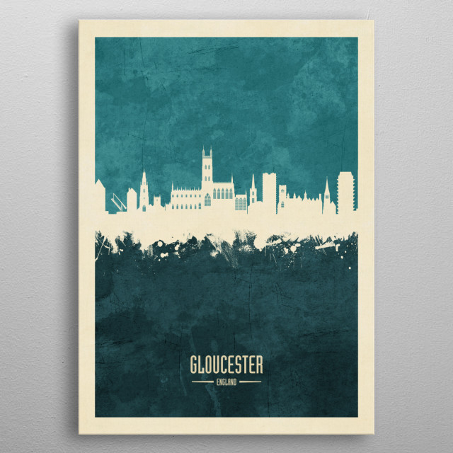 Watercolor art print of the skyline of Gloucester, England, United Kingdom metal poster