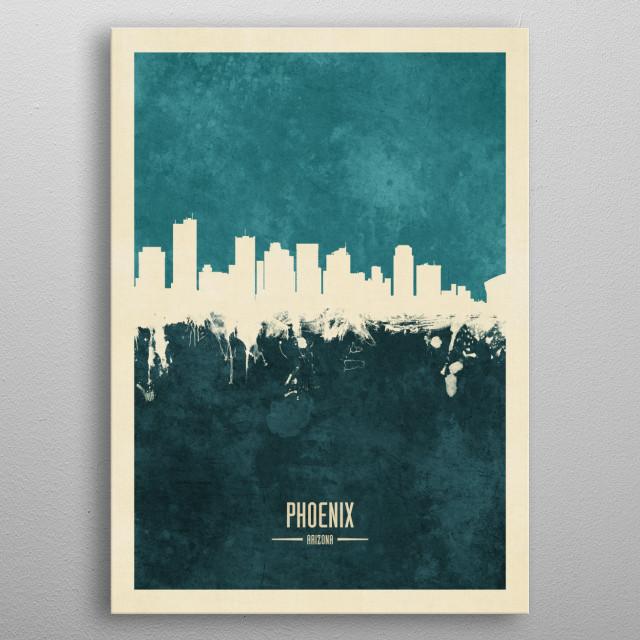 Watercolor art print of the skyline of Phoenix, Arizona, United States metal poster