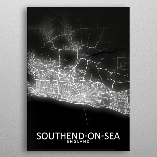 Southend-on-Sea, England,LED Glow City Map metal poster
